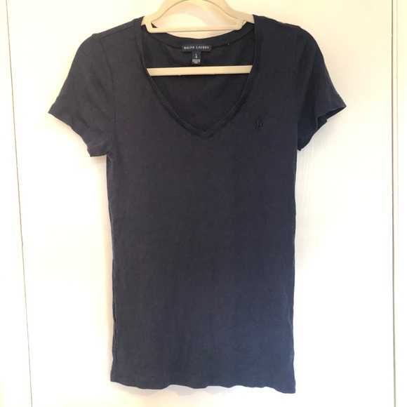 Ralph Lauren V Neck Short Sleeve T Shirt Navy Sz L